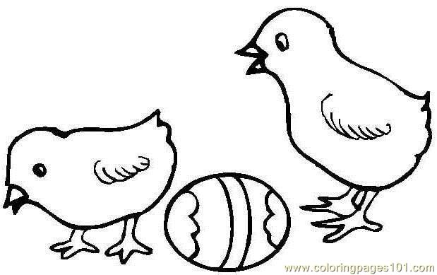 easter hen chick coloring page