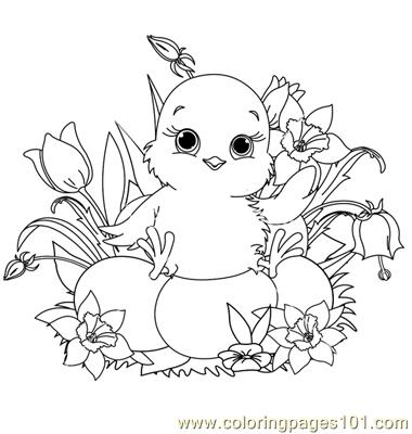 Babby easter chick coloring page
