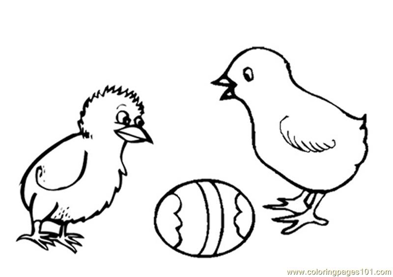 Easter chicks watching egg Coloring Page