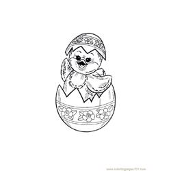 Easter chicks in happy mood Free Coloring Page for Kids