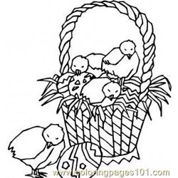 Easter chicks basket Free Coloring Page for Kids