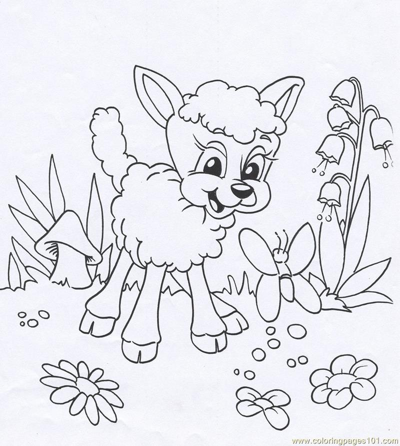 Lamb animal Coloring Page Free Easter Lambs Coloring