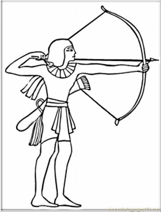 Egyptian with bow coloring page free egypt coloring for Crossbow coloring pages