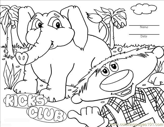 Kicks Coloring Page Elephant Coloring Page