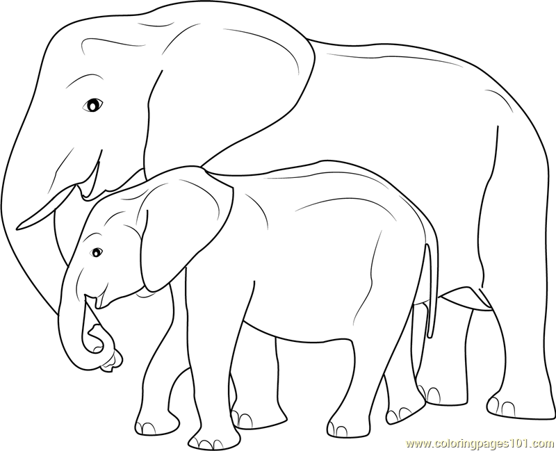 Mother and baby elephant coloring page free elephant for Mom and baby coloring pages