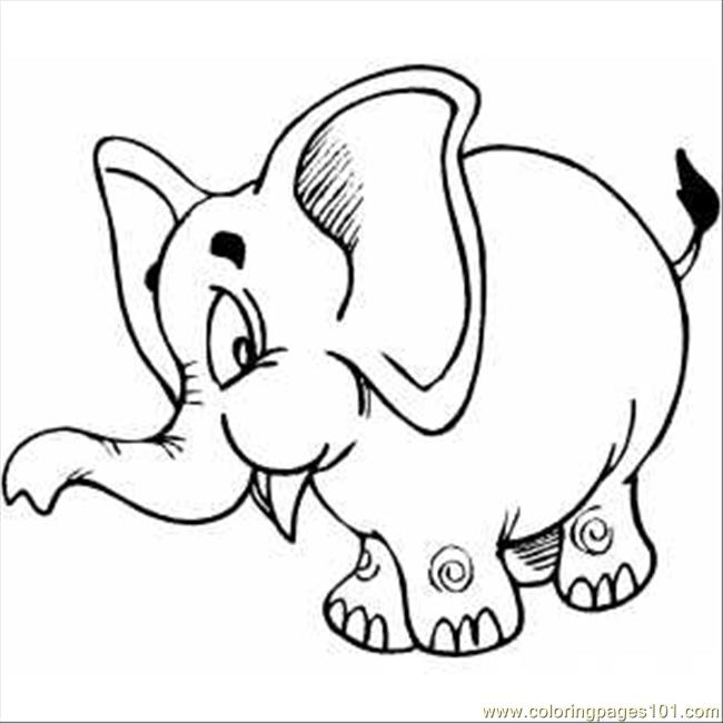 Pink Elephant Coloring Page
