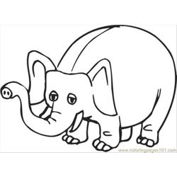 Happy Elephant Free Coloring Page for Kids