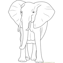 African Bush Elephant Free Coloring Page for Kids