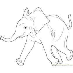 Baby Elephant Free Coloring Page for Kids