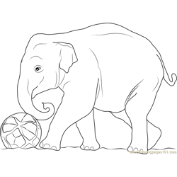 Elephant Play Football Free Coloring Page for Kids