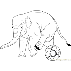 Elephant Play Soccer Free Coloring Page for Kids