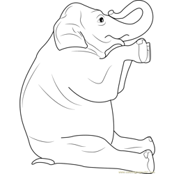 Elephant Setting Free Coloring Page for Kids