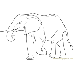 Elephant Walking Away Free Coloring Page for Kids