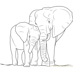 Elephant with Baby Free Coloring Page for Kids