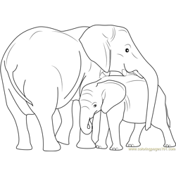 Indian Elephant with Calf Free Coloring Page for Kids