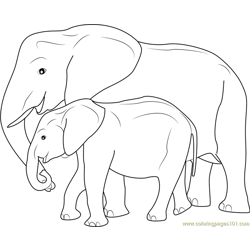 Mother and Baby Elephant Free Coloring Page for Kids