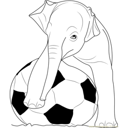 Playing Football Elephants Free Coloring Page for Kids