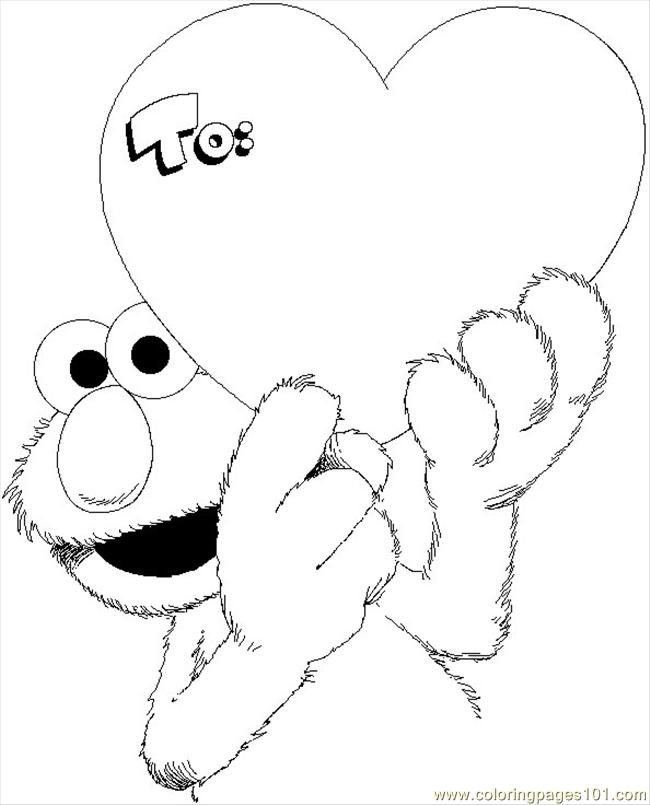 Elmo Valentine Coloring Page Coloring Page  Free Sesame Street