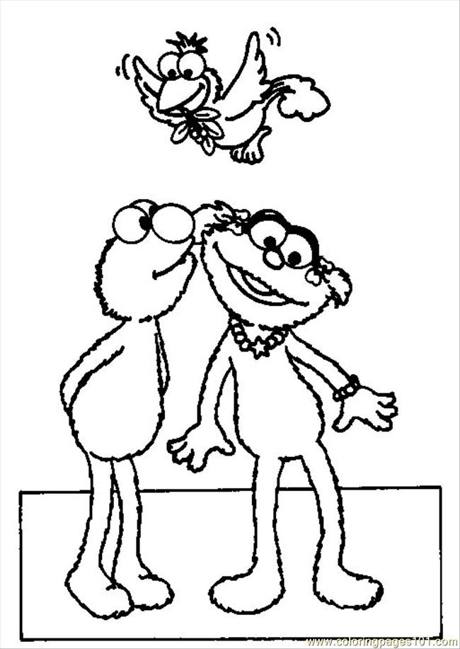 elmo zoe kiss coloring page coloring page