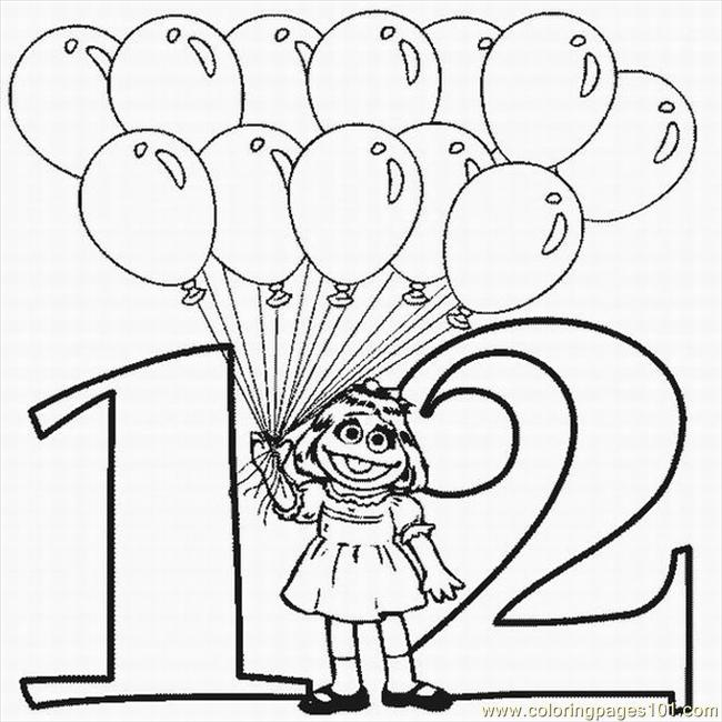 Numbers Coloring Pages 12 Lrg Coloring Page