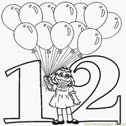 Numbers Coloring Pages 12 Lrg