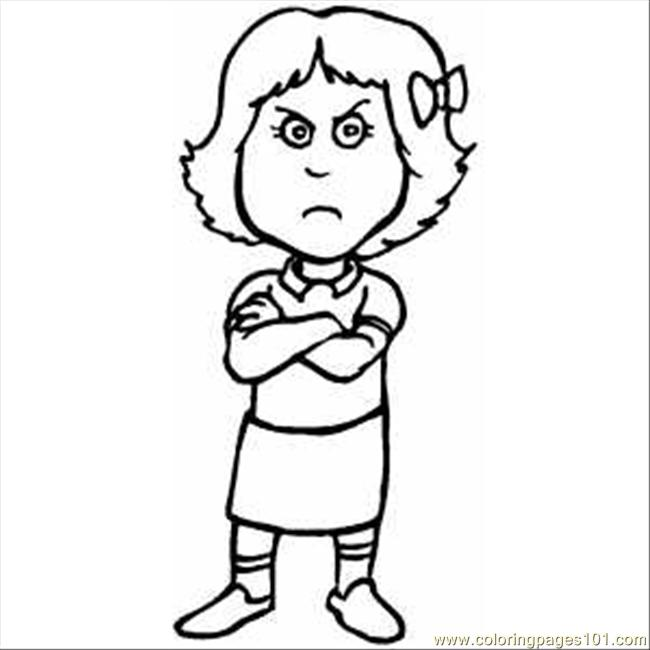 Pouting Girl Coloring Page Free Emotions Coloring Pages