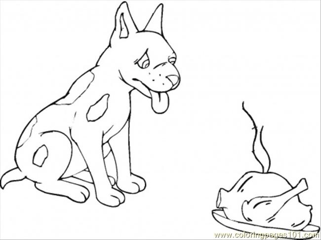 Hungry Dog Coloring Page