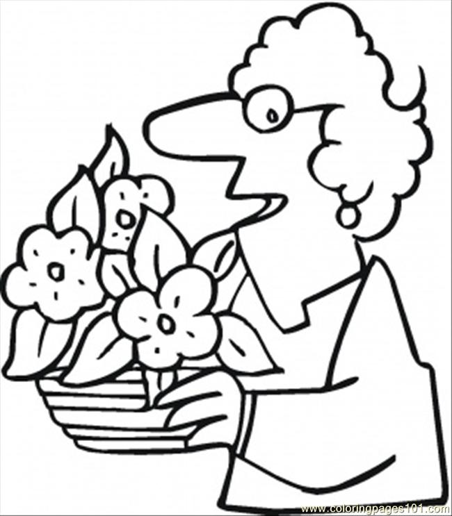 Lady Appreciated Her Flowers Coloring Page