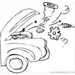 Trouble With A Car Free Coloring Page for Kids