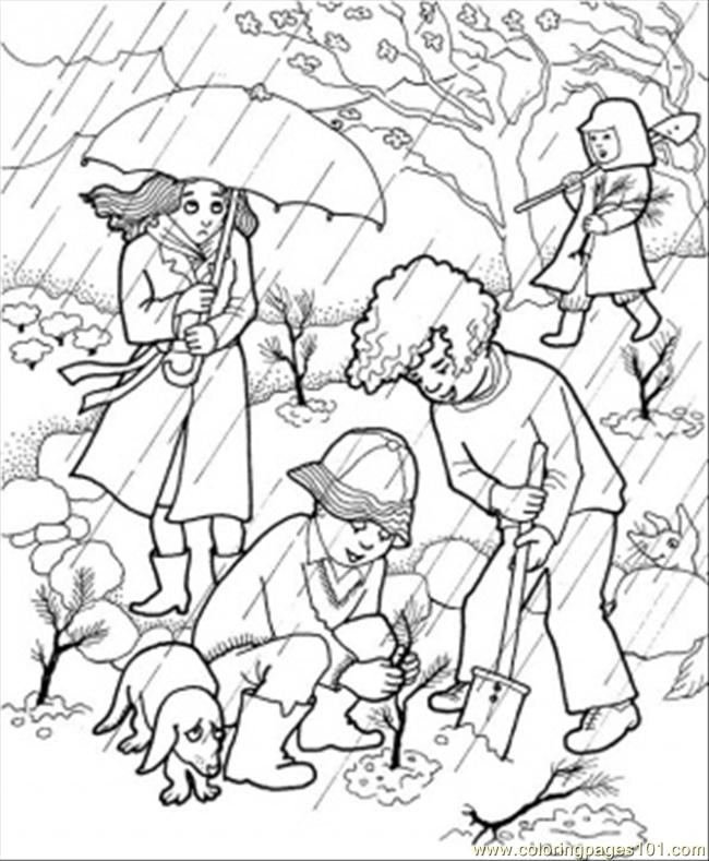 Rain In The Garden Coloring Page