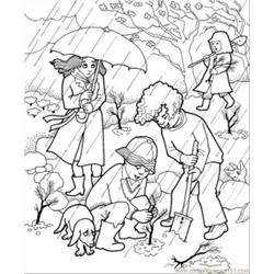 Rain In The Garden Free Coloring Page for Kids