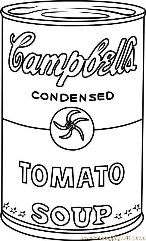 Campbell's Soup by Andy Warhol Coloring Page