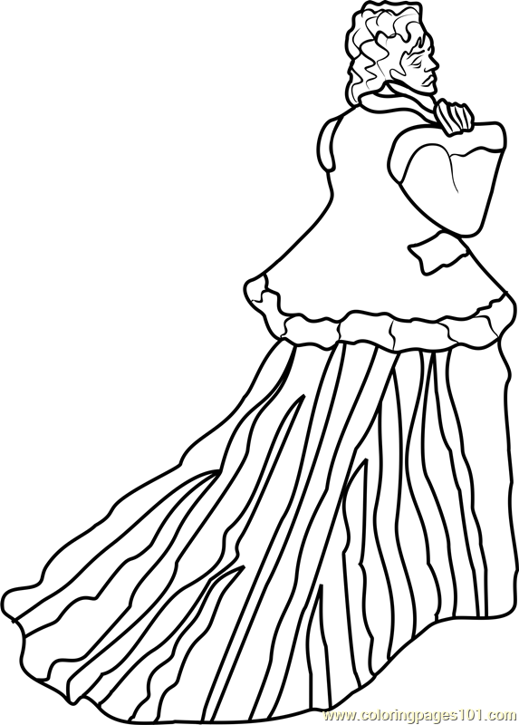 The Woman in the Green Dress Coloring Page
