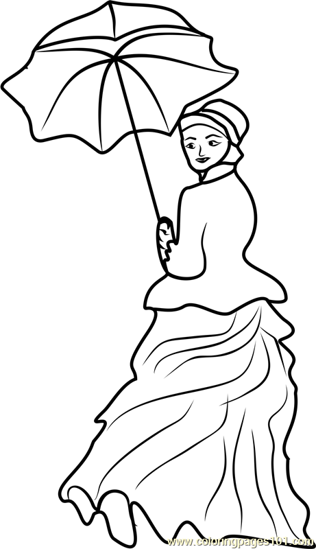 Woman With A Parasol Coloring Page