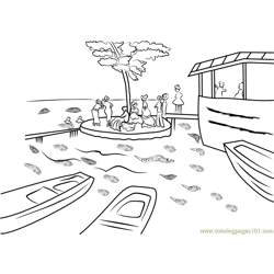 Bain a la Grenouillere Free Coloring Page for Kids