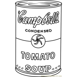 Campbell's Soup by Andy Warhol Free Coloring Page for Kids