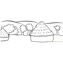 Haystacks coloring page