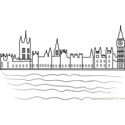 Houses of Parliament Free Coloring Page for Kids