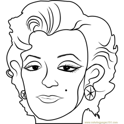 Marilyn by Andy Warhol Free Coloring Page for Kids
