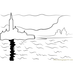 San Giorgio Maggiore at Dusk Free Coloring Page for Kids