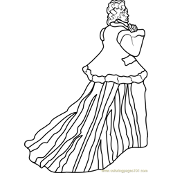 The Woman in the Green Dress Free Coloring Page for Kids