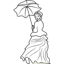 Woman with a Parasol Free Coloring Page for Kids