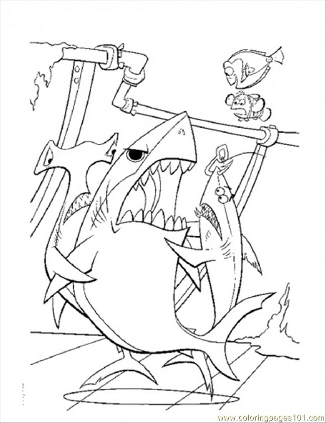 Bruce Want To Eat Dory Coloring Page - Free Finding Nemo Coloring ...
