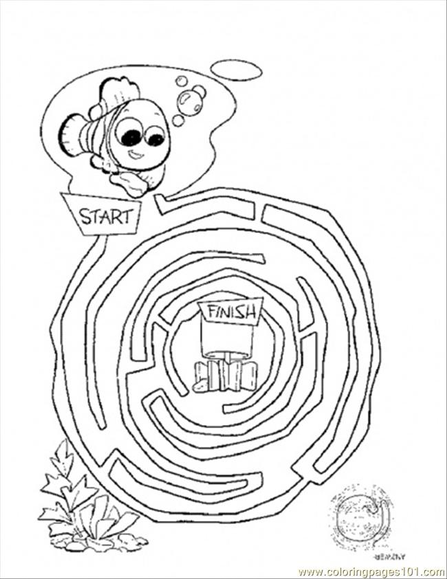 Maze Coloring Page - Free Finding Nemo Coloring Pages ...
