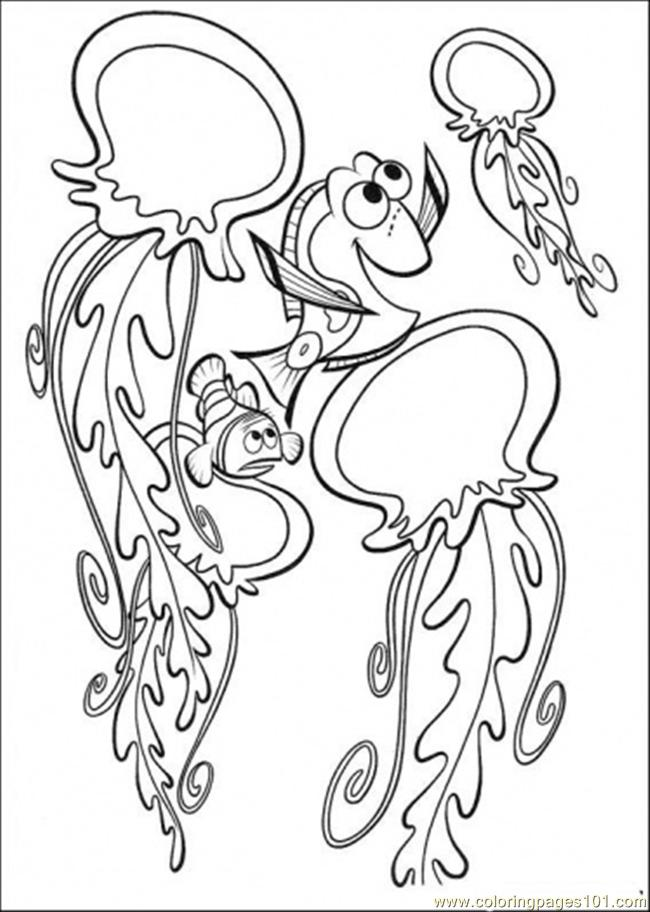 Playing With Jelly Fish Coloring Page