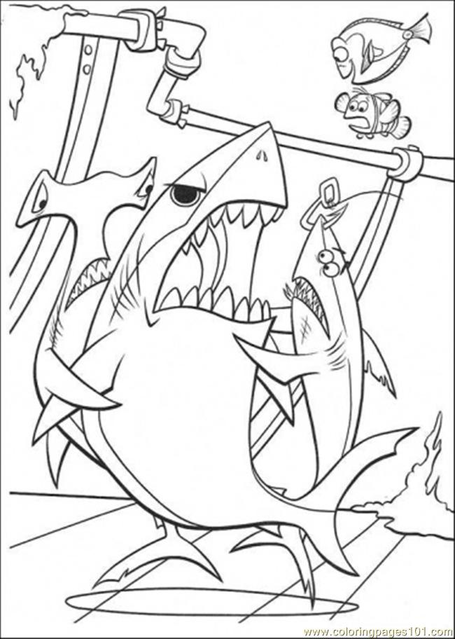 Three Sharks Coloring Page Free Finding Nemo Coloring Pages