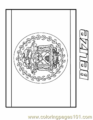 Belize Coloring Page Free Flags