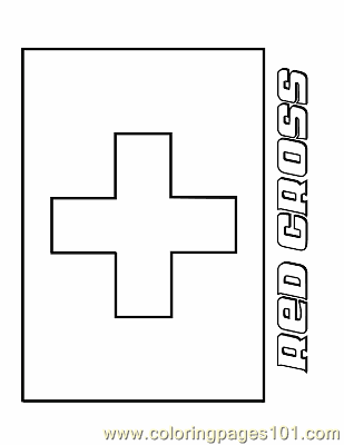 Red Cross Coloring Page Free Flags Coloring Pages
