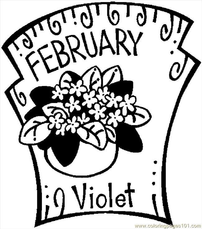 02 February Violet 2 Coloring Page - Free Flowers Coloring ...