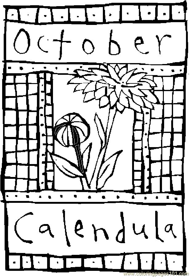 october coloring pages printable - 10 october calendula 2 coloring page free flowers
